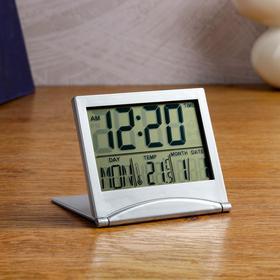 Часы настольные электронные: календарь, будильник, термометр,  CR2025 8.8х7.8 см