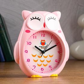 """Будильник детский  """"Совушка"""" 14.5 х 4 х 16 см, дискретный ход, розовый"""