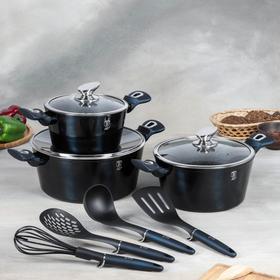 Набор посуды Berlinger Haus Aquamarine Edition, 10 предметов: 3 кастрюли, 3 стеклянных крышки, 4 кухонных инструмента