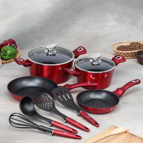 Набор посуды Berlinger Haus Burgundy Metallic Line, 10 предметов: 2 кастрюли, 2 сковороды, 2 стеклянных крышки, 4 кухонных инструмента