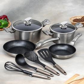 Набор посуды Berlinger Haus Carbon Metallic Line, 10 предметов: 2 кастрюли, 2 сковороды, 2 стеклянные крышки, 4 кухонных инструмента