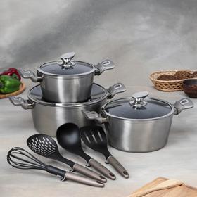 Набор посуды Berlinger Hause Carbon Metallic Line, 10 предметов: 3 кастрюли, 3 стеклянные крышки, 4 кухонных инструмента