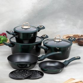 Набор посуды Berlinger Haus Emerald Collection, 10 предметов: 3 кастрюли, 3 стеклянные крышки, 2 сковороды, 2 подставки
