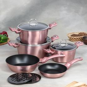 Набор посуды Berlinger Haus I-Rose Edition,10 предмета: 3 кастрюли, 3 стеклянных крышки, 2 сковороды, 2 подставки