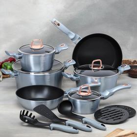 Набор посуды Berlinger Haus Moonlight Edition,15 предмета: 3 кастрюли, 4 стеклянных крышки, 2 сковороды, ковш, 4 кухонных инструмента