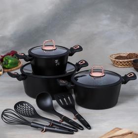 Набор посуды Berlinger Haus Black Rose,10 предмет: 3 кастрюли, 3 стеклянных крышки, 4 кухонных инструмента