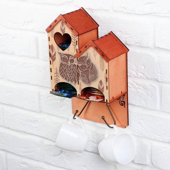 Чайный домик настенный «Совушки», 17,3х30,3 см - фото 506655