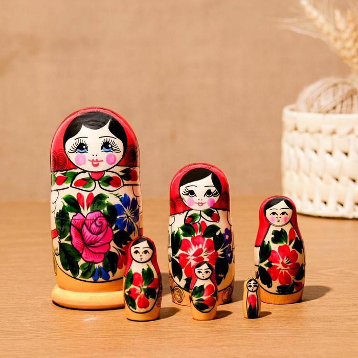Матрёшка «Семёновская», красный платок, 6 кукольная, 12 см