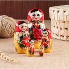 Матрёшка «Семёновская», красный платок 5 кукольная, 9 см