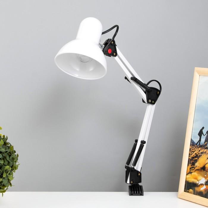 Лампа настольная Е27, h=55 см, шарнирная, на зажиме (220В) белая - фото 7931653