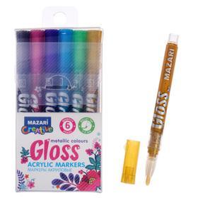 Набор маркеров-красок Mazari Gloss, металлик, 6 цветов