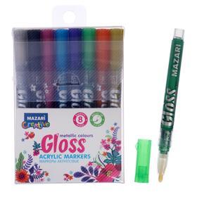 Набор маркеров-красок Mazari Gloss, 8 цветов, металлик