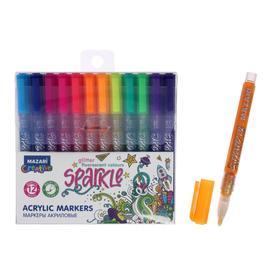 Набор маркеров-красок, Mazari Sparkle, 12 цветов, с блёстками