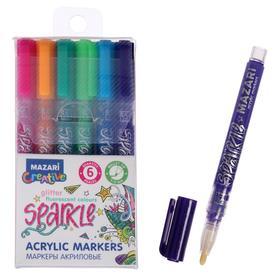 Набор маркеров-красок с блёстками Mazari Sparkle, 6 цветов