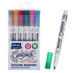 Набор маркеров-красок с контуром Mazari Contour, 6 цветов