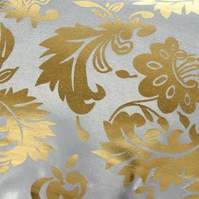 Ткань атлас золотой узор на белом