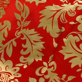 Ткань атлас золотой узор на красном (200 пог. м)