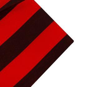 Ткань атлас красно-черная полоса, ширина 150 см (186 пог. м)