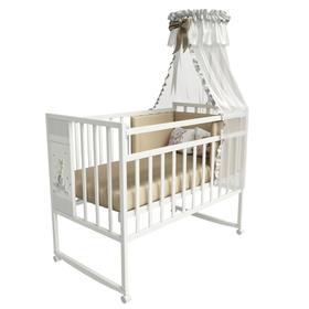 Кровать детская Mini Loft 3D - My friends  колесо-качалка (молочный) 1200х600