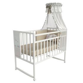Кровать детская Mini Loft 3D - Friend and Ocean  колесо-качалка (белый) 1200х600