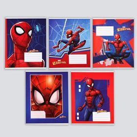 """Тетрадь 12 листов, линейка, """"Супергерой"""", 5 видов МИКС, Человек-паук"""
