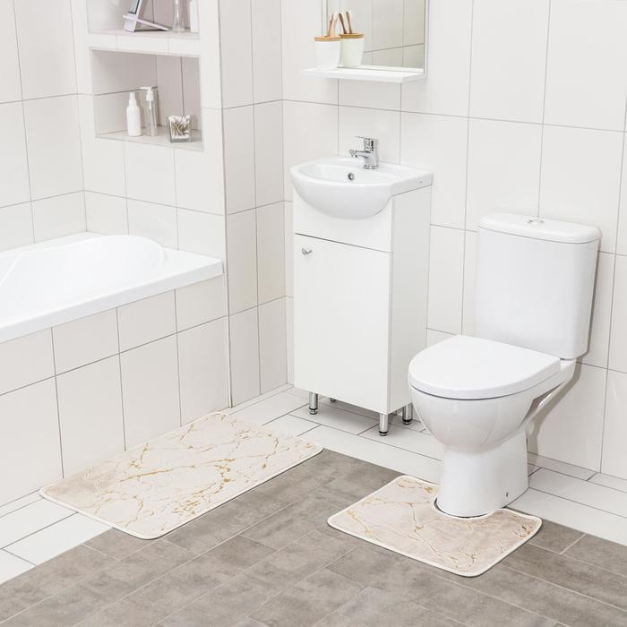 Набор ковриков для ванны и туалета Доляна «Мраморный», 2 шт: 40×50, 50×80 см, цвет бежево-золотой - фото 7651442