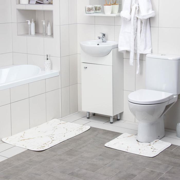 Набор ковриков для ванны и туалета Доляна «Мраморный», 2 шт: 40×50, 50×80 см, цвет бело-золотой - фото 7651447