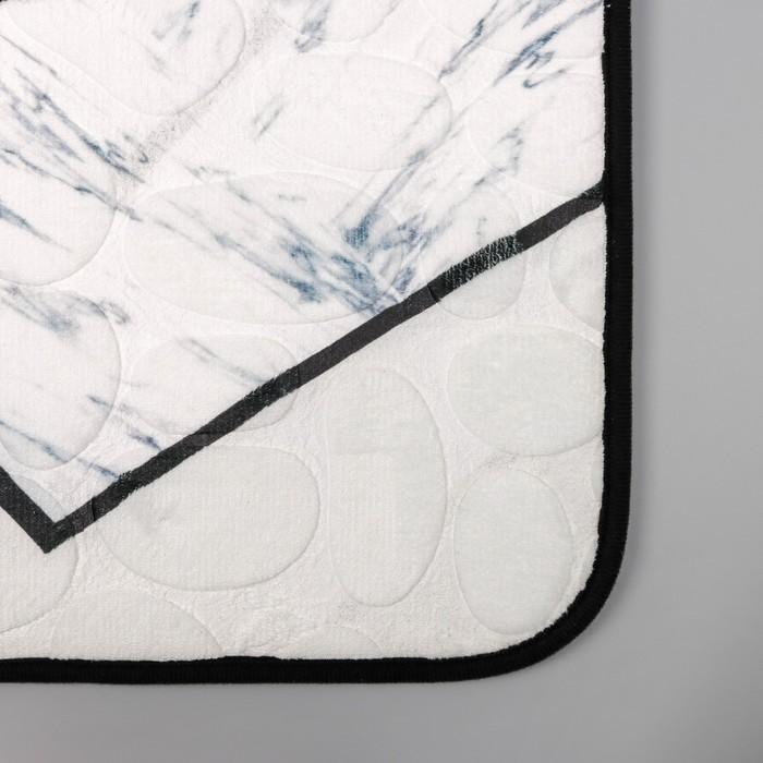 Набор ковриков для ванны и туалета Доляна «Галька геометрическая», 2 шт: 40×50, 50×80 см, цвет серый - фото 7651292