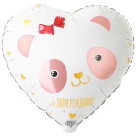 """Шар фольгированный 18"""" «С днём рождения!», панда с бантиком, сердце"""