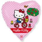 """Шар фольгированный 18"""" Hello Kitty «Котёнок на велосипеде», сердце, цвет розовый, 1 шт. в упаковке - фото 7639823"""