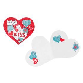 "Открытка-валентинка двойная ""Kiss"" глиттер, коты, вязанные сердца"