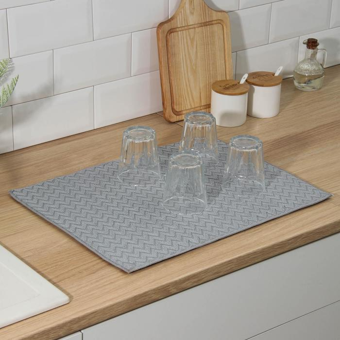 """Mat for drying dishes 38x50 cm """"Zigzag"""", color gray"""