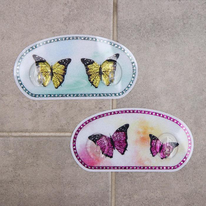 Набор двойных крючков на липучке «Бабочки», 2 шт, рисунок МИКС - фото 7652985