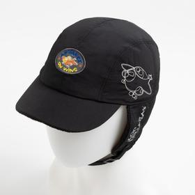 Кепка для мальчика утепленная флисом ПИЛОТ , цвет черный/принт, р-р 50-52