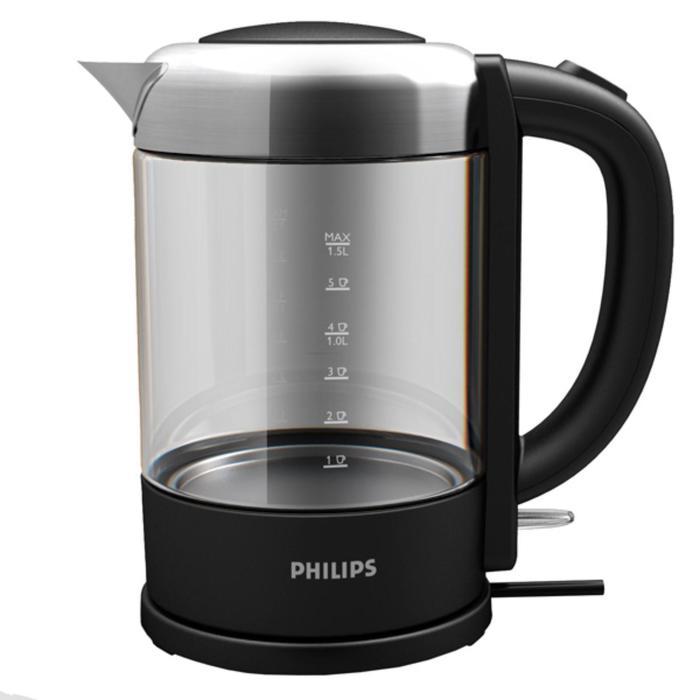 Чайник Philips HD 9340/90, стекло, 1.5 л, 2200 Вт, чёрный