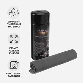 Замша протирочная Cartage, 43х32 см, в тубе, черный Ош
