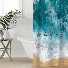 """Штора для ванной Этель """"Waves"""" 145 х 180 см, полиэстер"""