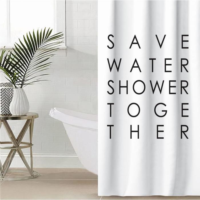 """Штора для ванной Этель """"Save water"""" 145 х 180 см, полиэстер - фото 7651337"""