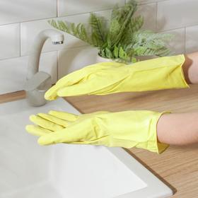 Перчатки хозяйственные резиновые Доляна, бархатный материал, размер L, 65 гр, цвет МИКС