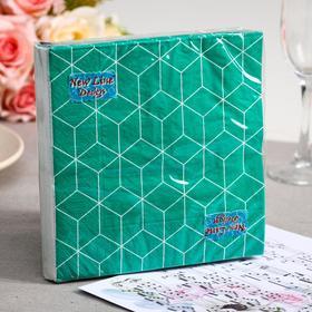 Салфетки бумажные New Line FRESCO Кубики 3D зелёные, 3-слоя 20 листов 33*33