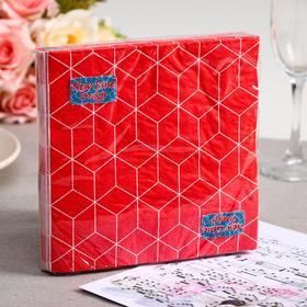 Салфетки бумажные New Line FRESCO Кубики 3D красные, 3-слоя 20 листов 33*33