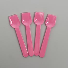 Ложки пластиковые, набор 12 шт, цвет розовый