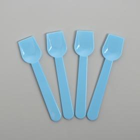 Ложки пластиковые, набор 12 шт, цвет голубой
