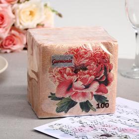 Салфетки бумажные Гармноия цвета Пионы, 100 листов