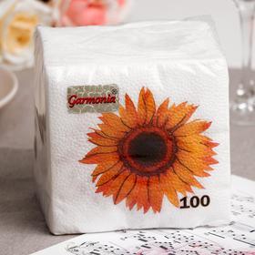 Салфетки бумажные Гармноия цвета Подсолнух, 100 листов