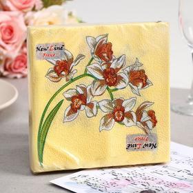 Салфетки бумажные New Line FRESCO Орхидея, 2-слоя 20 листов 33*33