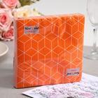 Салфетки бумажные New Line FRESCO Кубики 3D оранжевые, 2-слоя 20 листов 33*33