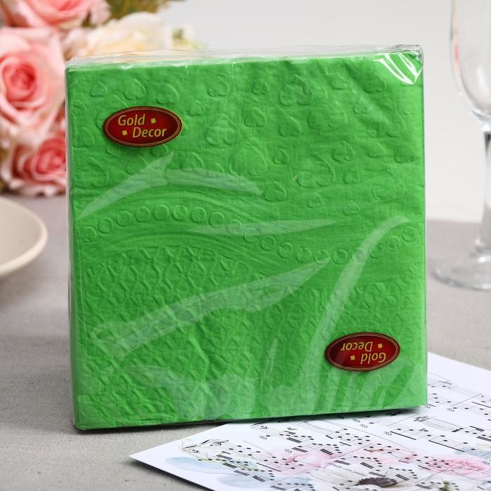 Салфетки бумажные Gold decor Green Heart, 3 слоя, 33*33 см, 20 шт. - фото 282125213