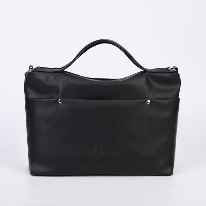 Сумка женская, отдел на молнии, 2 наружных кармана, длинный ремень, цвет чёрный - фото 781254