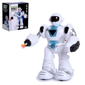 """Robot """"Cosmobot"""", shoots, light and sound effects, runs on batteries, colors MIX"""
